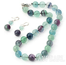 Elegant Round Rainbow Fluorite Beaded Necklace And Earrings Set