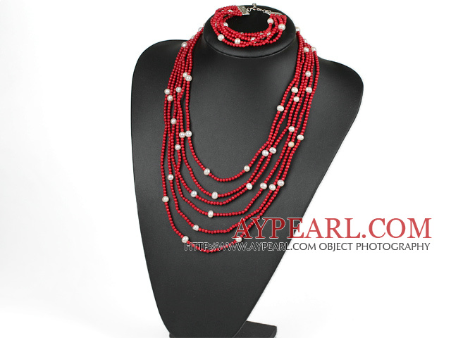 Multi Strand White Freshwater Pearl And Red Coral Set(Necklace With Matched Bracelet)