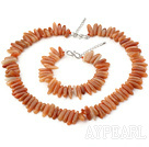 Fashion Red Knotted Teeth Aventurine Set With S Clasp(Necklace With Matched Bracelet)