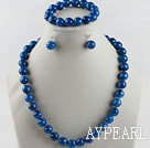 Wholesale 12 faceted blue agate ball necklace bracelet and earrings set
