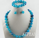 Wholesale 14mm faceted blue agate ball necklace bracelet and earrings set