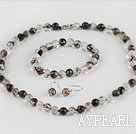 Wholesale 8mm faceted natural black cherry quartze ball necklace bracelet and earrings set