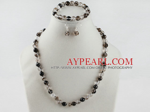 8mm faceted natural black cherry quartze ball necklace bracelet and earrings set