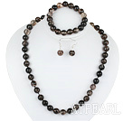 10mm faceted natural black cherry quartze ball necklace bracelet and earrings set