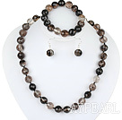 Wholesale 12mm faceted natural black cherry quartze ball necklace bracelet and earrings set