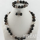 Wholesale 14mm faceted natural black cherry quartze ball necklace bracelet and earrings set