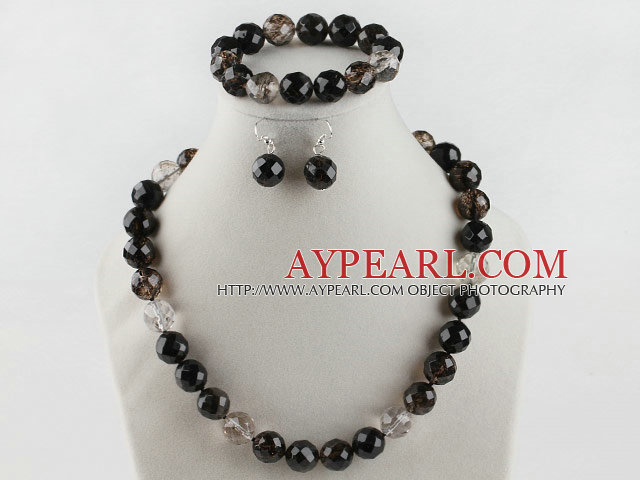 14mm faceted natural black cherry quartze ball necklace bracelet and earrings set