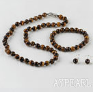 Wholesale 8mm round tiger eye necklace bracelet and earrings set