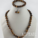 Wholesale 10mm round tiger eye necklace bracelet and earrings set