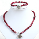 Classic Simple Design Potato Shape Purple Red Pearl Necklace & Bracelet Set With Heart Charm