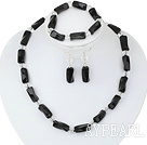 Wholesale admirably white crystal black agate necklace bracelet earring set