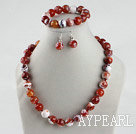 Wholesale 14mm burst pattern agate ball necklace bracelet earrings set