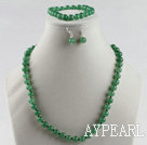 Wholesale 8mm aventurine ball necklace bracelet earrings set