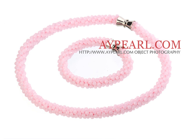 Fashion Style Single Strand Pink Jade Necklace Bracelet With Magnetic Clasp
