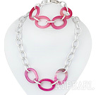 metal jewelry fahsion pink agate necklace bracelet set