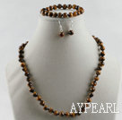 Wholesale 8mm faceted tiger eye ball necklace bracelet earrings set