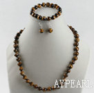 10mm faceted tiger eye ball necklace bracelet earrings set