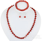 Wholesale 8mm faceted red agate ball necklace bracelet earrings set