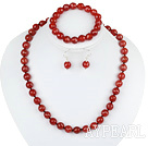 Wholesale 10mm faceted red agate ball necklace bracelet earrings set