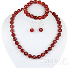Wholesale 12mm faceted red agate ball necklace bracelet earrings set