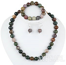 12mm faceted indian agate ball necklace bracelet earrings set