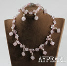 Wholesale rose quartze and white pearl necklace bracelet set