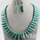 Wholesale favourite horn shape turquoise necklace earrings set