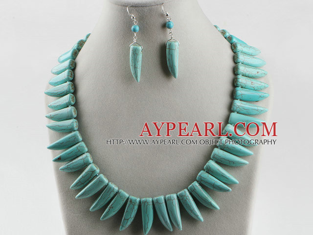 favourite horn shape turquoise necklace earrings set