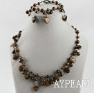 Wholesale heart and round shape tiger eye necklace bracelet set