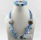 favourite blue agate and blue aventurine necklace bracelet set