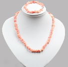 Special Design Popular Pink Coral Chips Jewelry Set (Necklace And Bracelet)