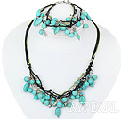 gorgeous turquoise necklace bracelet set with extendable chain