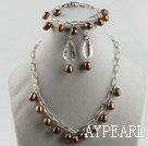9-10mm brown Baroque shape pearl necklace bracelet earrings set