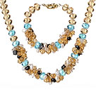 Summer Beautiful Cluster Style Multi Color Crystal Jewelry Set (Necklace with Matched Bracelet)