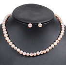 Graceful Natural Pink Freshwater Pearl Jewelty Set (Necklace & Stud Earrings)