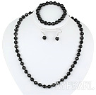 Wholesale 8mm faceted black agate ball necklace bracelet earrings set