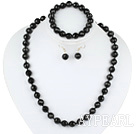 Wholesale 10mm faceted black agate ball necklace bracelet earrings set