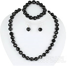 Wholesale 12mm faceted black agate ball necklace bracelet earrings set