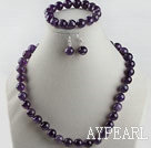 12mm natural amethyst ball necklace bracelet earrings set