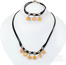 Wholesale gorgeous 10mm yellow jade necklace bracelet set with extendable chain