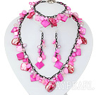 Wholesale Hot Pink Series Assorted Hot Pink Pearl Shell Set with Metal Chain ( Necklace Bracelet and Matched Earrings )