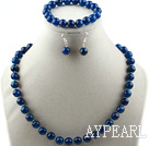 Discount 10mm faceted blue agate ball necklace bracelet earrings set
