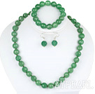 12mm faceted aventurine ball necklace bracelet earrings set