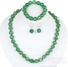 12mm faceted aventurine ball necklace bracelet earrings set