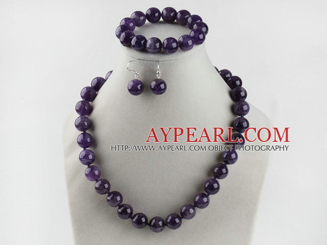 14mm natural amethyst ball necklace bracelet earrings set