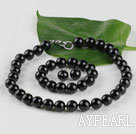 14mm black agate ball necklace bracelet earrings set