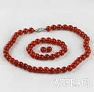 Wholesale 10mm red agate ball necklace bracelet earrings set