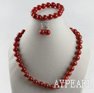 Wholesale 12mm red agate ball necklace bracelet earrings set