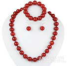 Wholesale 14mm red agate ball necklace bracelet earrings set
