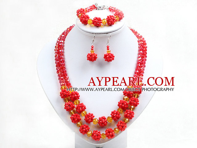 Popular Trendy Style Bright Yellow And Red Crystal Beads Jewelry Set (Necklace With Matched Bracelet And Earrings)